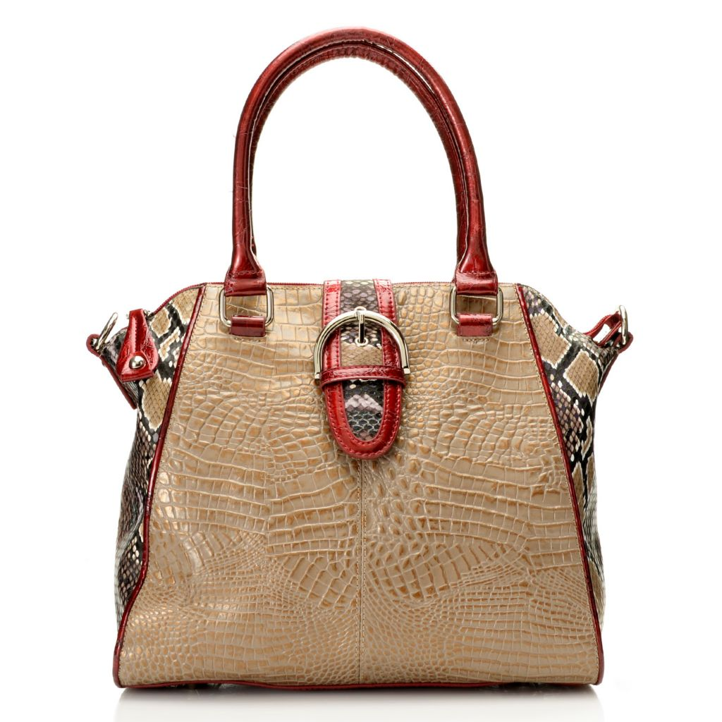 717-768 - Madi Claire Croco Embossed Leather & Snake Print Buckle Detailed Satchel