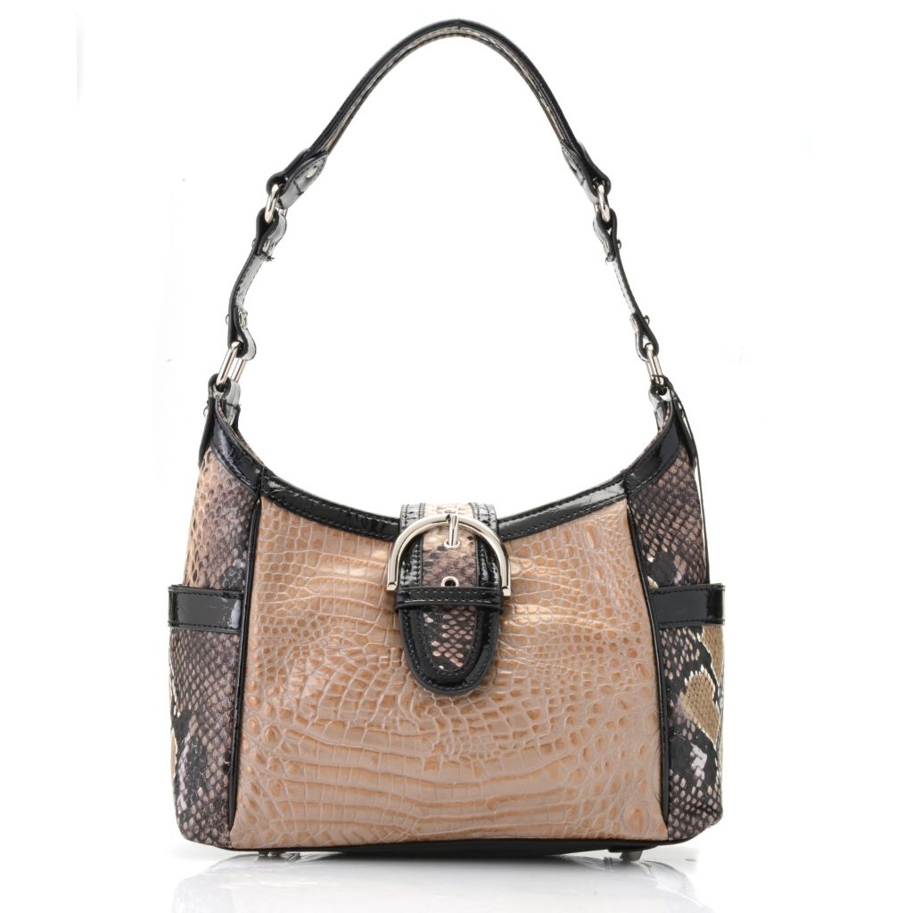717-769 - Madi Claire Croco Embossed Leather & Snake Print Hobo Handbag