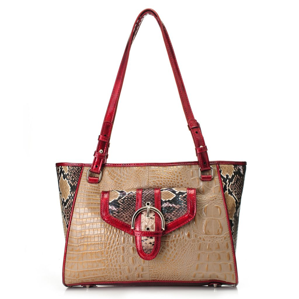 717-770 - Madi Claire Croco Embossed Leather & Snake Print Front Pocket Shopper Tote Bag