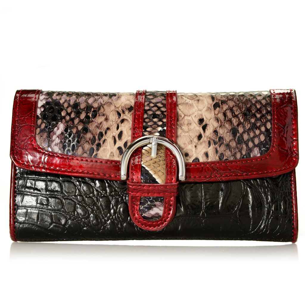 717-771 - Madi Claire Croco Embossed Leather & Snake Print Flap-over Buckle Wallet
