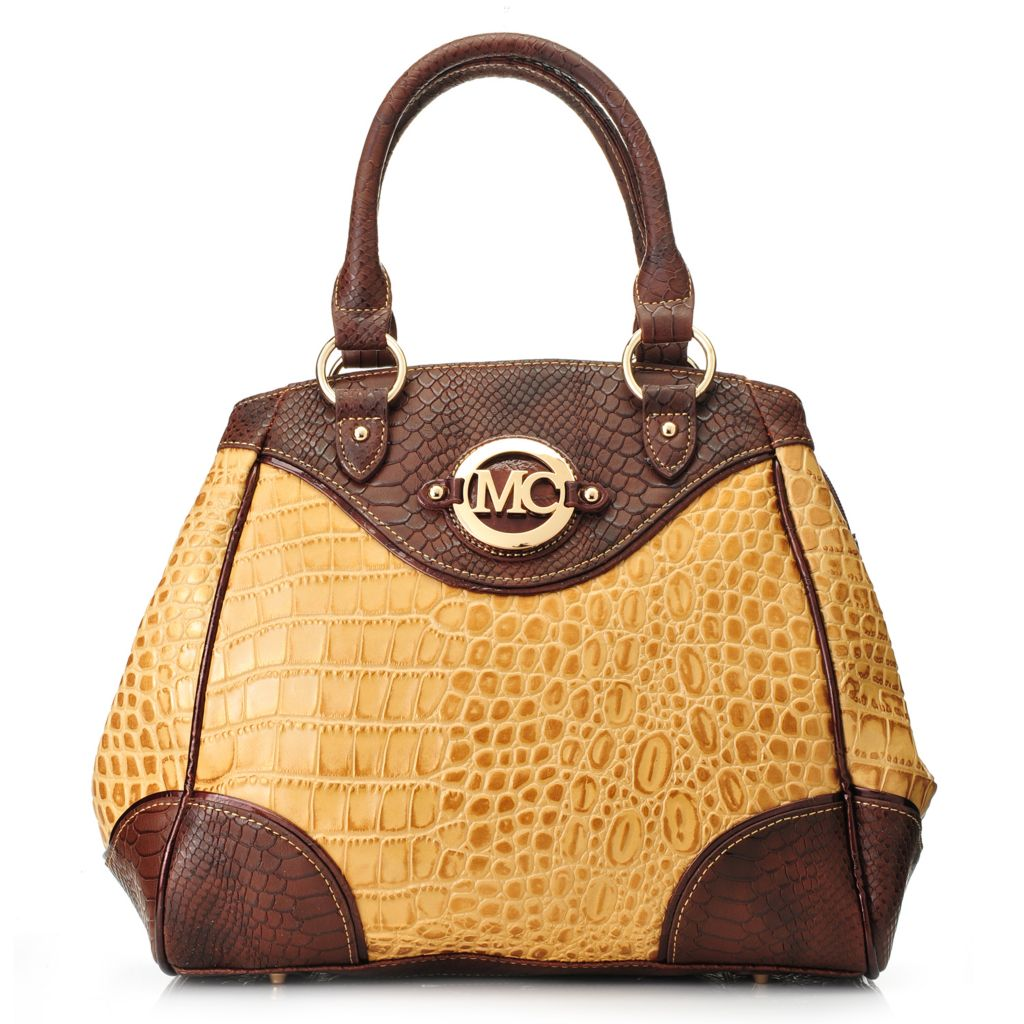 717-772 - Madi Claire Croco Embossed Leather Double Handle Tapered Satchel w/ Strap