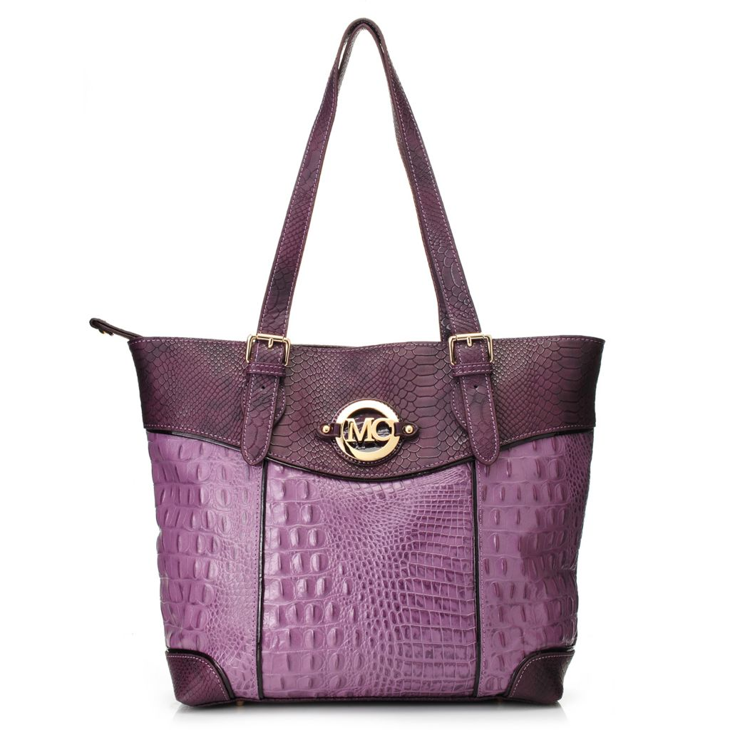 717-773 - Madi Claire Croco Embossed Leather Double Handle Zip Top Tote Bag