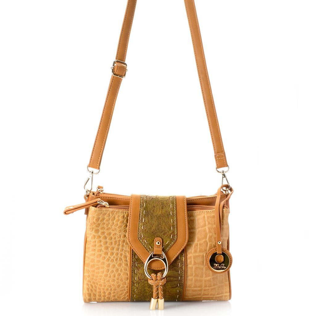 717-774 - Madi Claire Croco Embossed Leather & Crackle Design Organizer Cross Body Bag