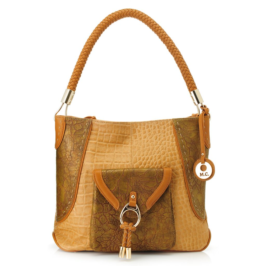 717-775 - Madi Claire Croco Embossed Leather Woven Handle Zip Top Hobo Handbag