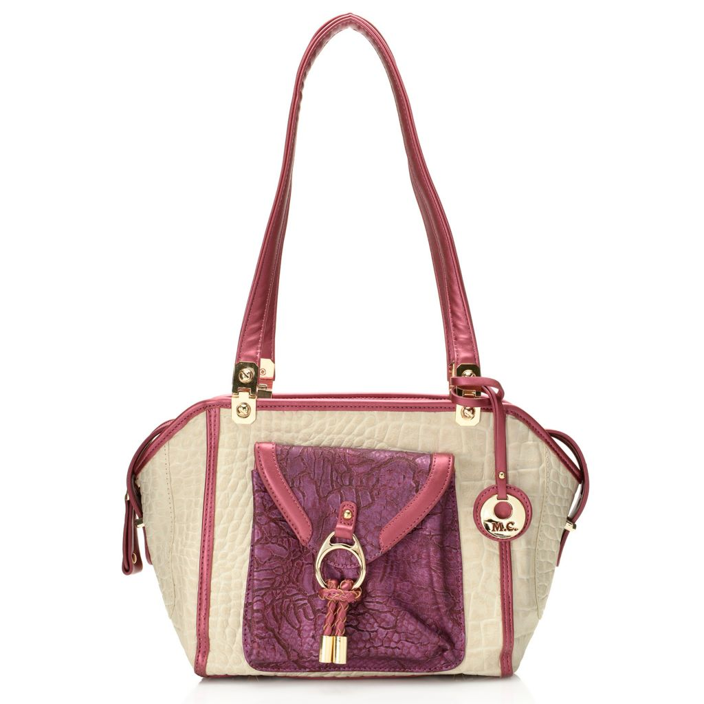 717-776 - Madi Claire Croco Embossed Leather & Crackle Design Front Pocket Tapered Tote Bag