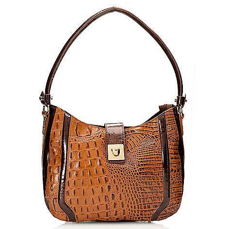 717-777 - Madi Claire Croco Embossed Leather Zip Top & Flap-over Belt Hobo Handbag