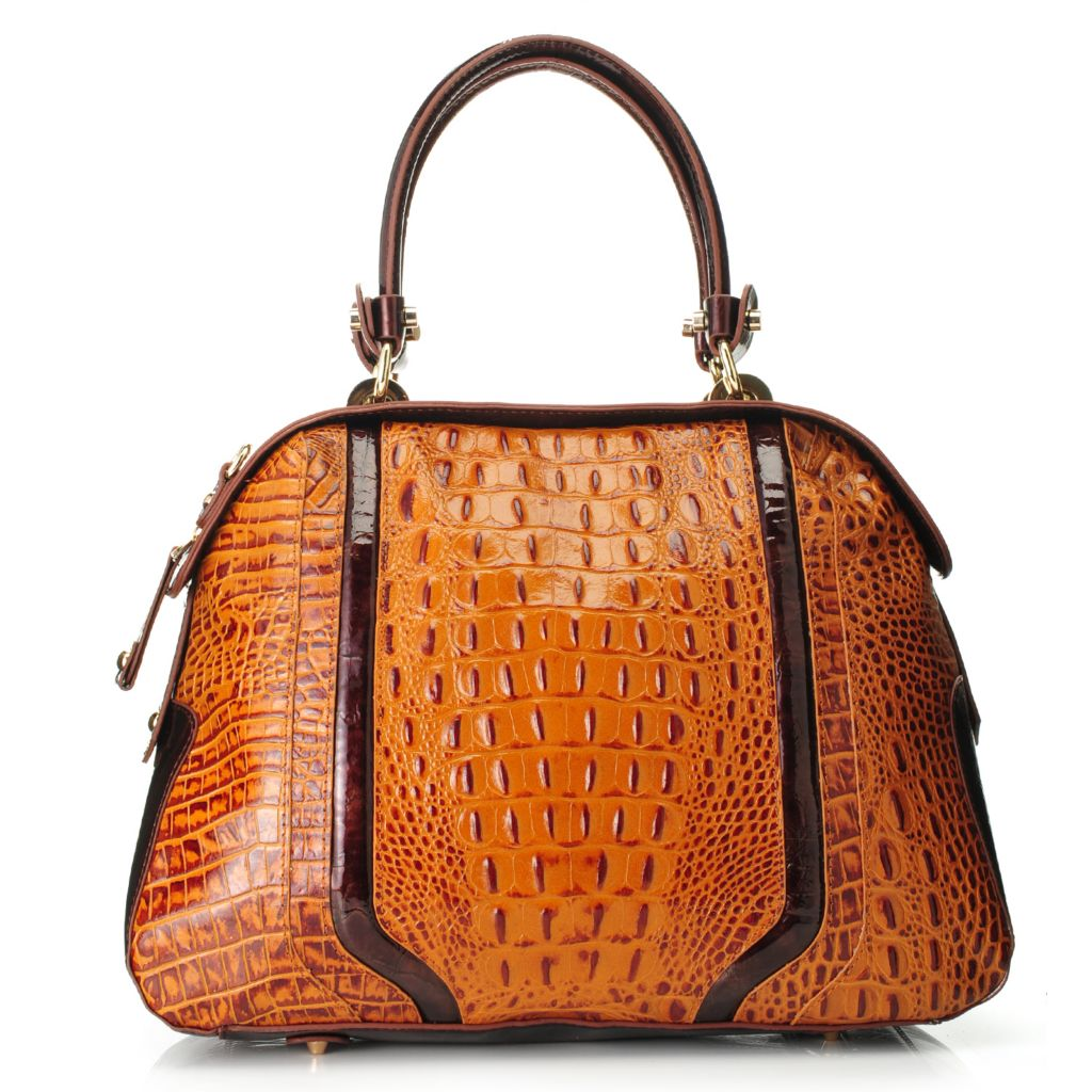 717-778 - Madi Claire Croco Embossed Leather Zip Top Bowler Satchel w/ Shoulder Strap