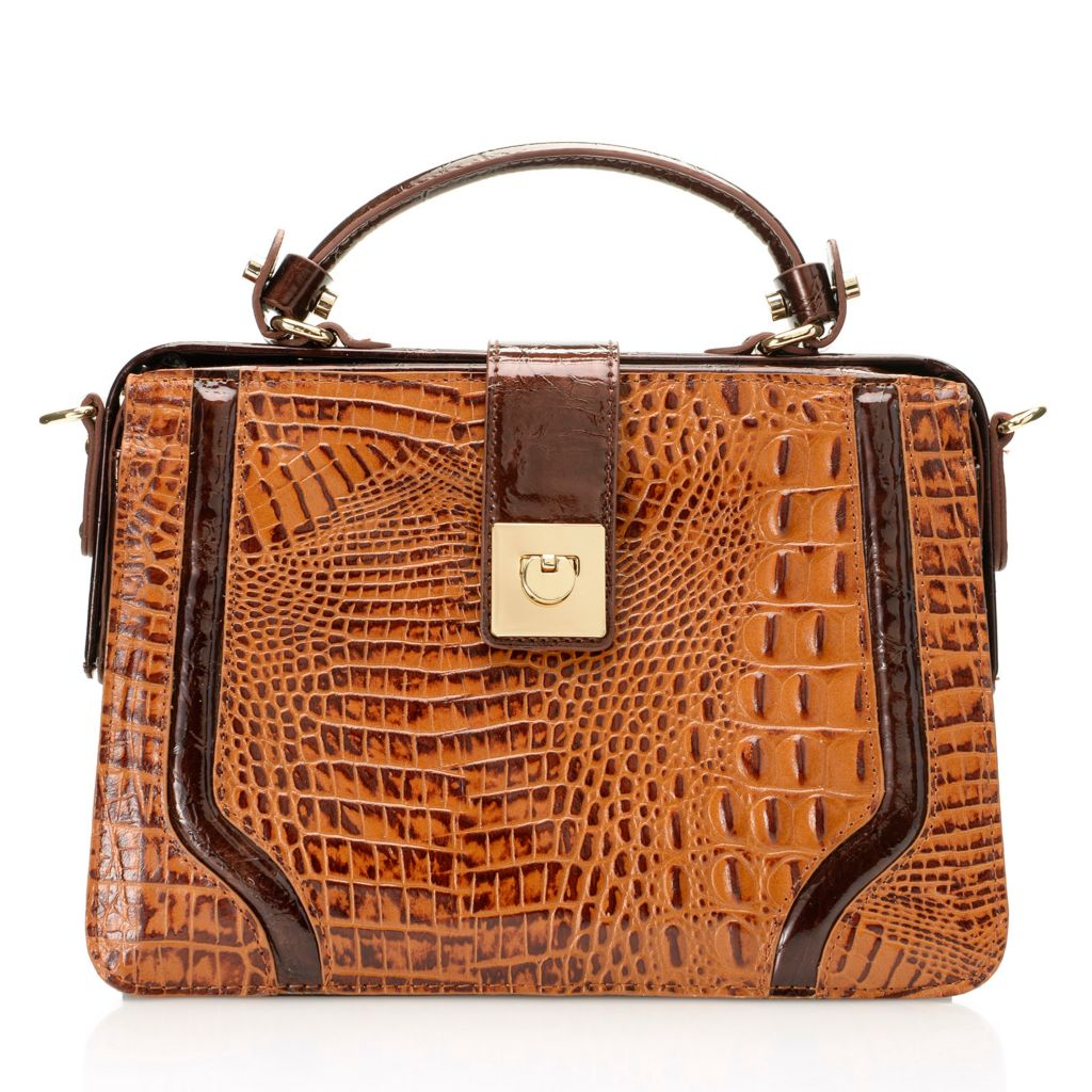 717-779 - Madi Claire Croco Embossed Leather Framed Top Handle Bag w/ Cross Body Strap