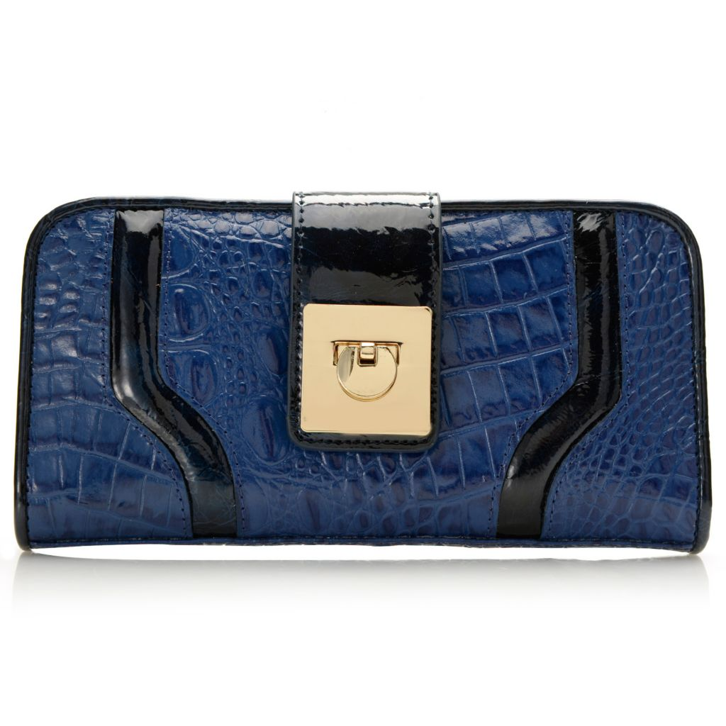 717-780 - Madi Claire Croco Embossed Leather Flap-over Fold Lock Wallet