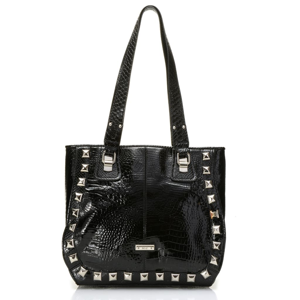 717-781 - Madi Claire Croco Embossed Patent Leather Double Handle Studded Tote Bag