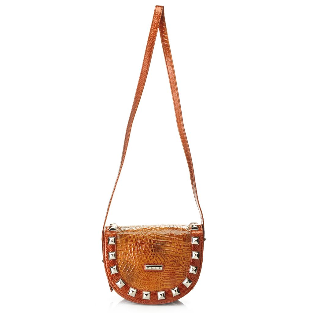 717-782 - Madi Claire Croco Embossed Patent Leather Studded Flap-over Cross Body Bag