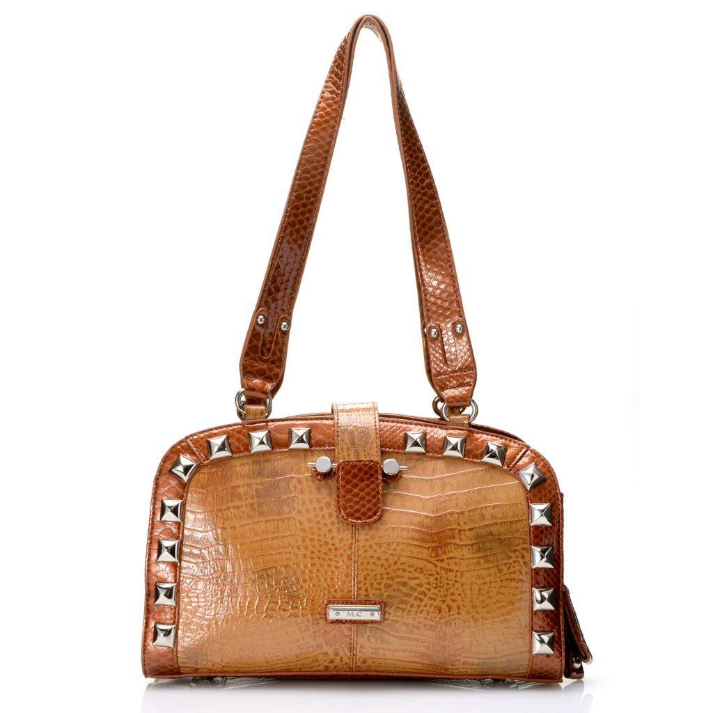 717-783 - Madi Claire Croco Embossed Patent Leather Multi Compartment Dome Satchel
