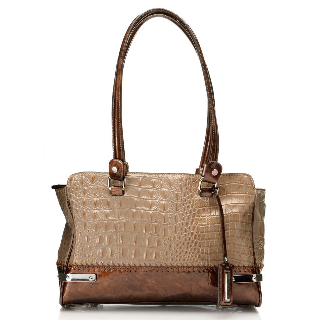 717-785 - Madi Claire Croco Embossed Leather Double Handle Tote Bag