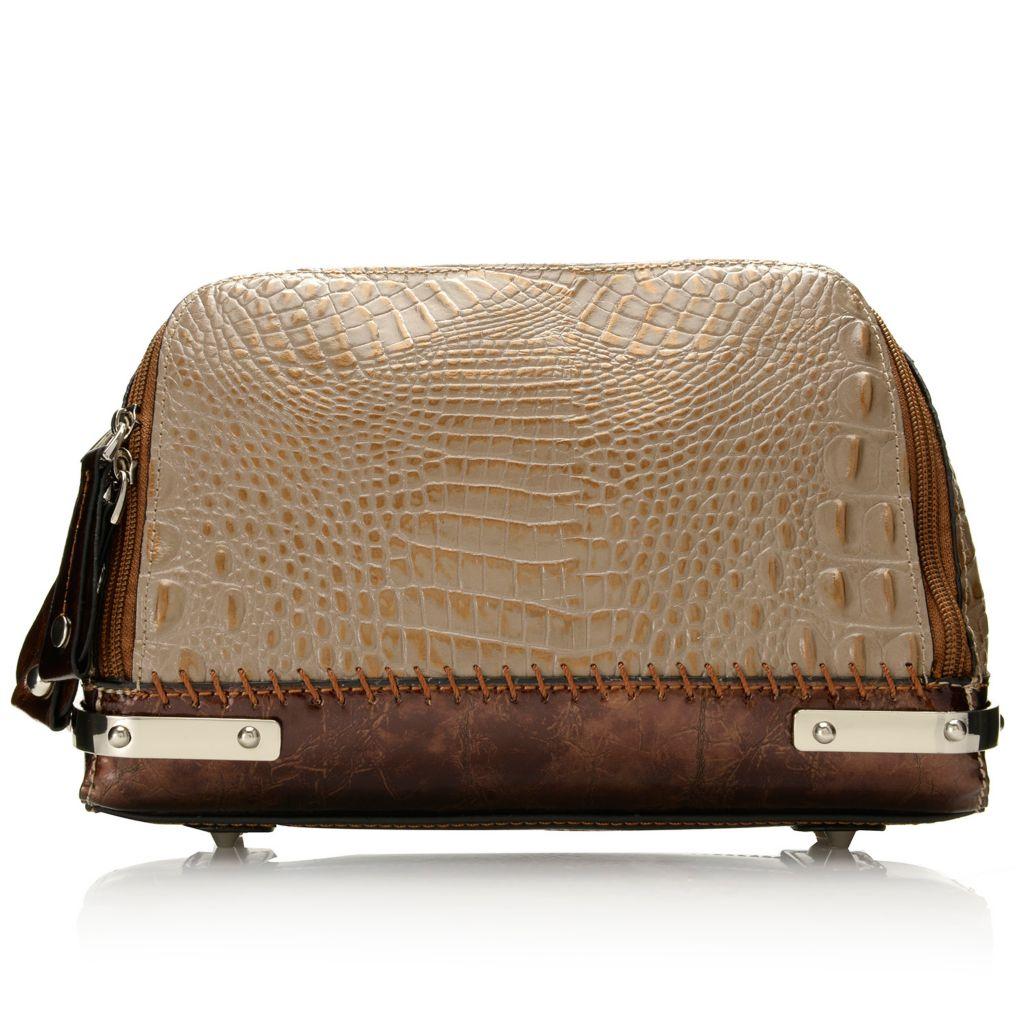 717-786 - Madi Claire Croco Embossed Leather Zip Around Cross Body Bag