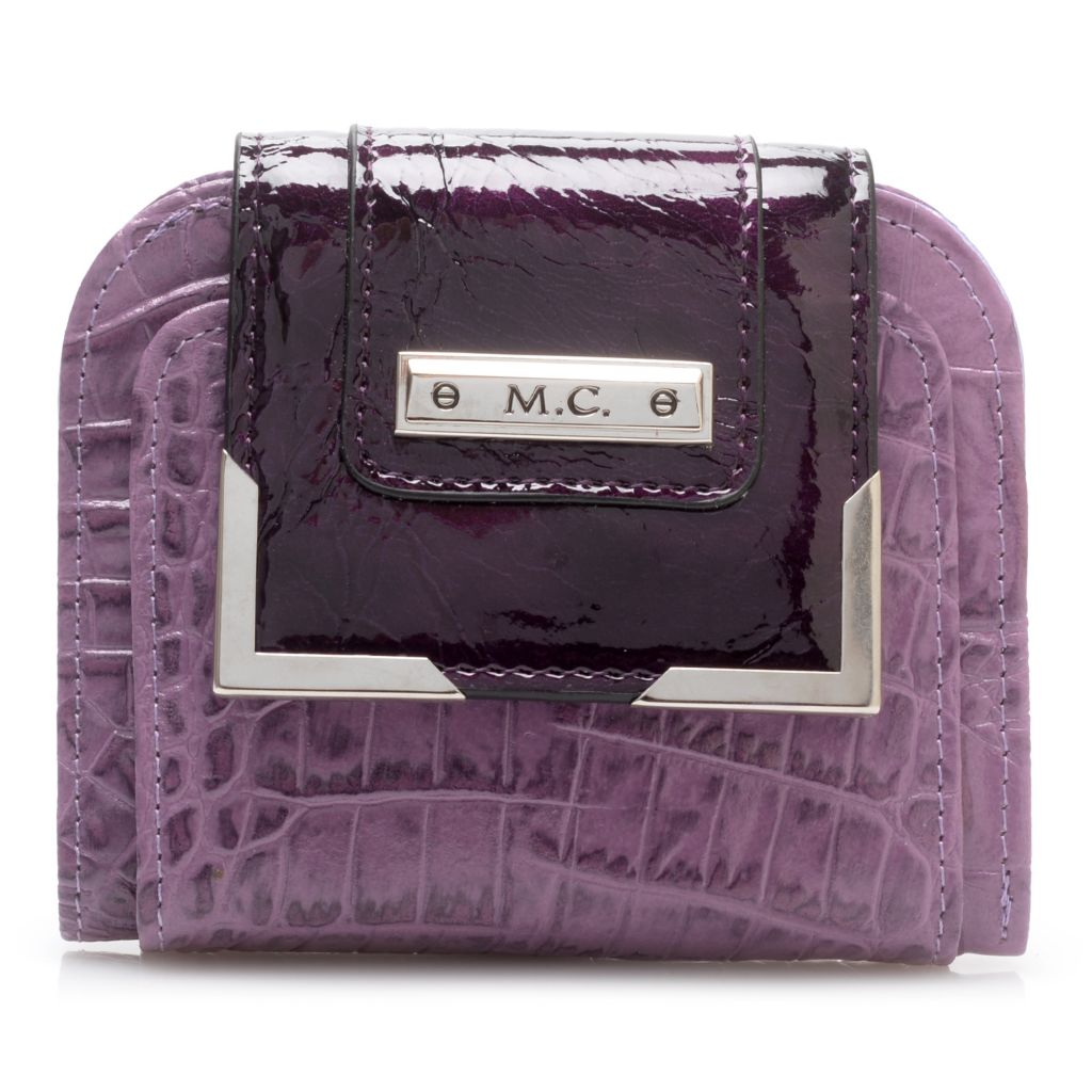 717-787 - Madi Claire Croco Embossed Leather Flap-over Square Wallet