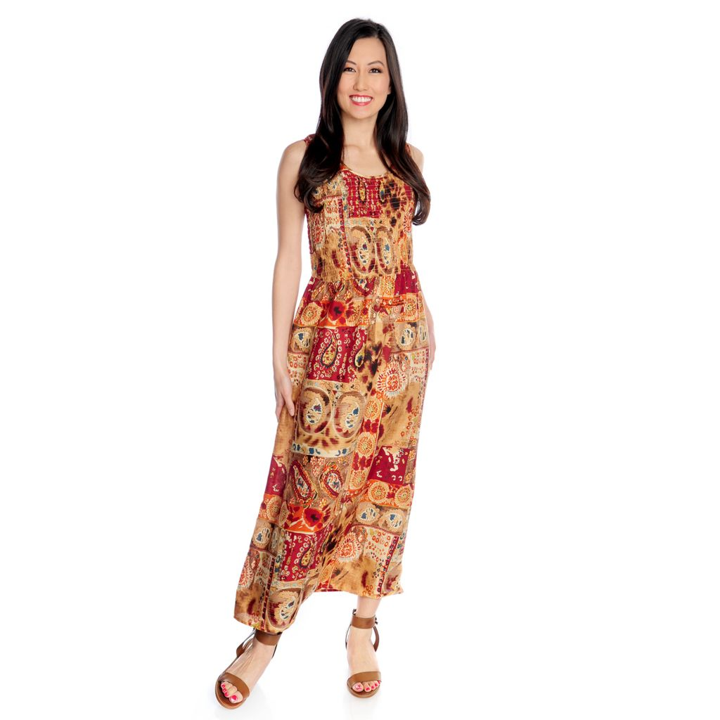717-788 - OSO Casuals Printed Challis Sleeveless Elasticized Bodice Maxi Dress