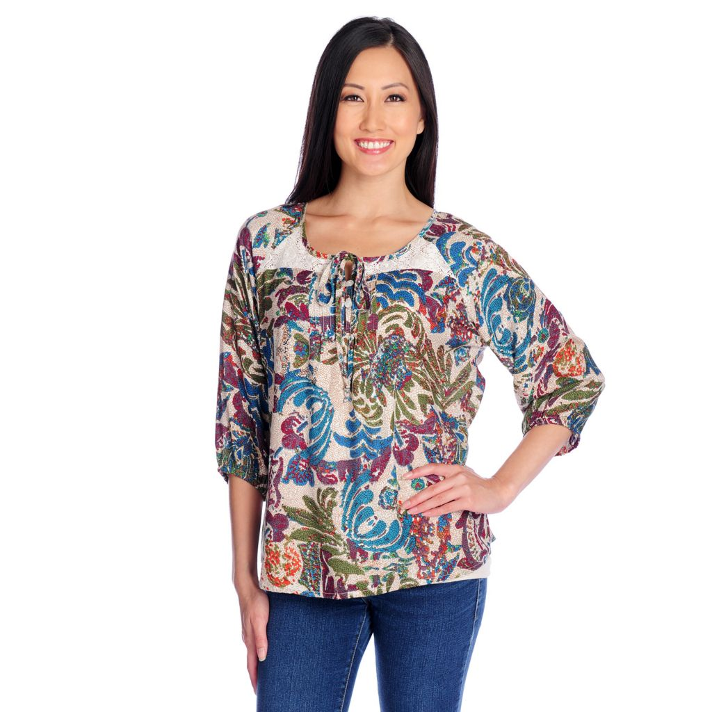 717-789 - OSO Casuals Printed Challis 3/4 Sleeved Lace Yoke Peasant Top