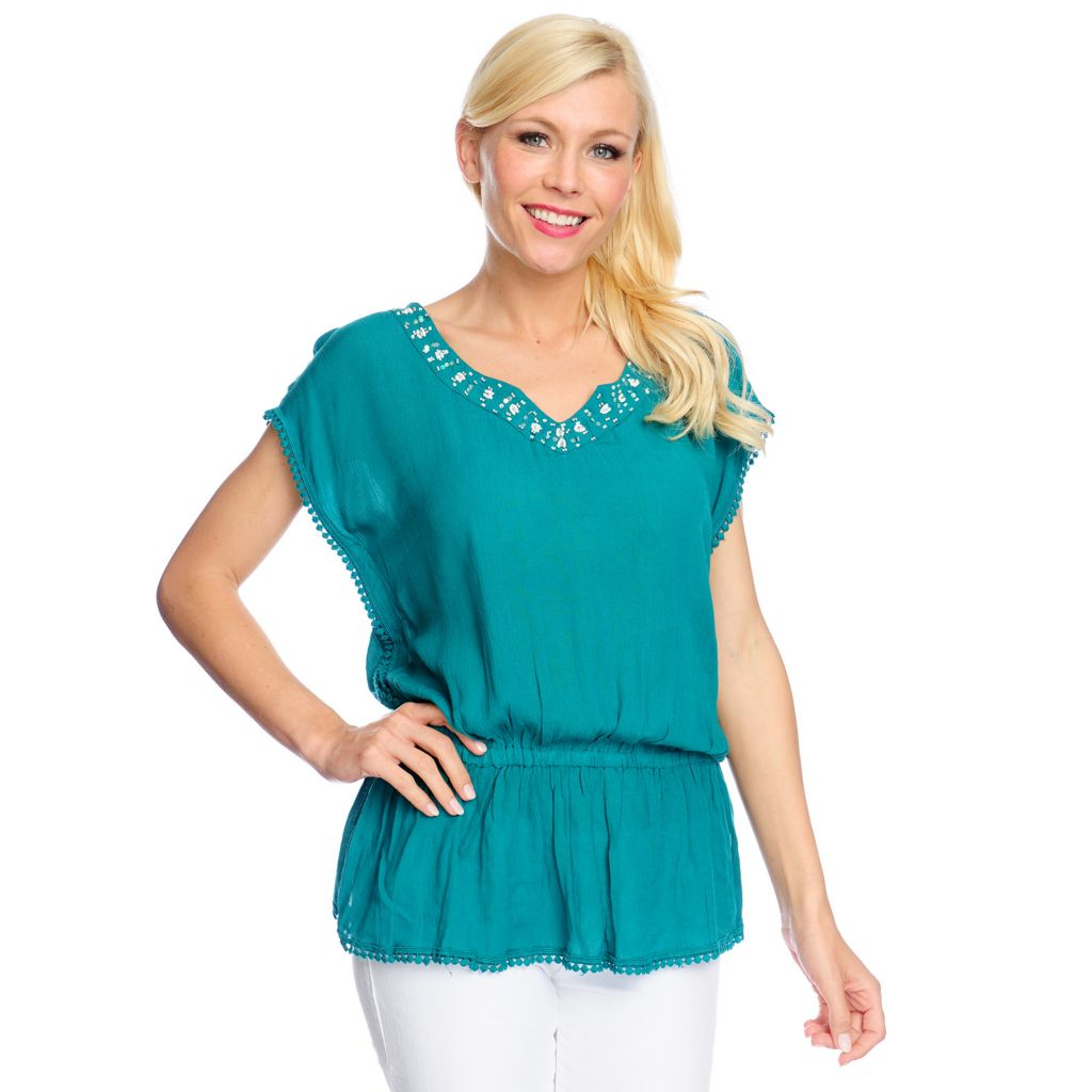 717-791 - OSO Casuals Solid Crepe Cap Sleeved Elastic Waist Beaded Neck Top