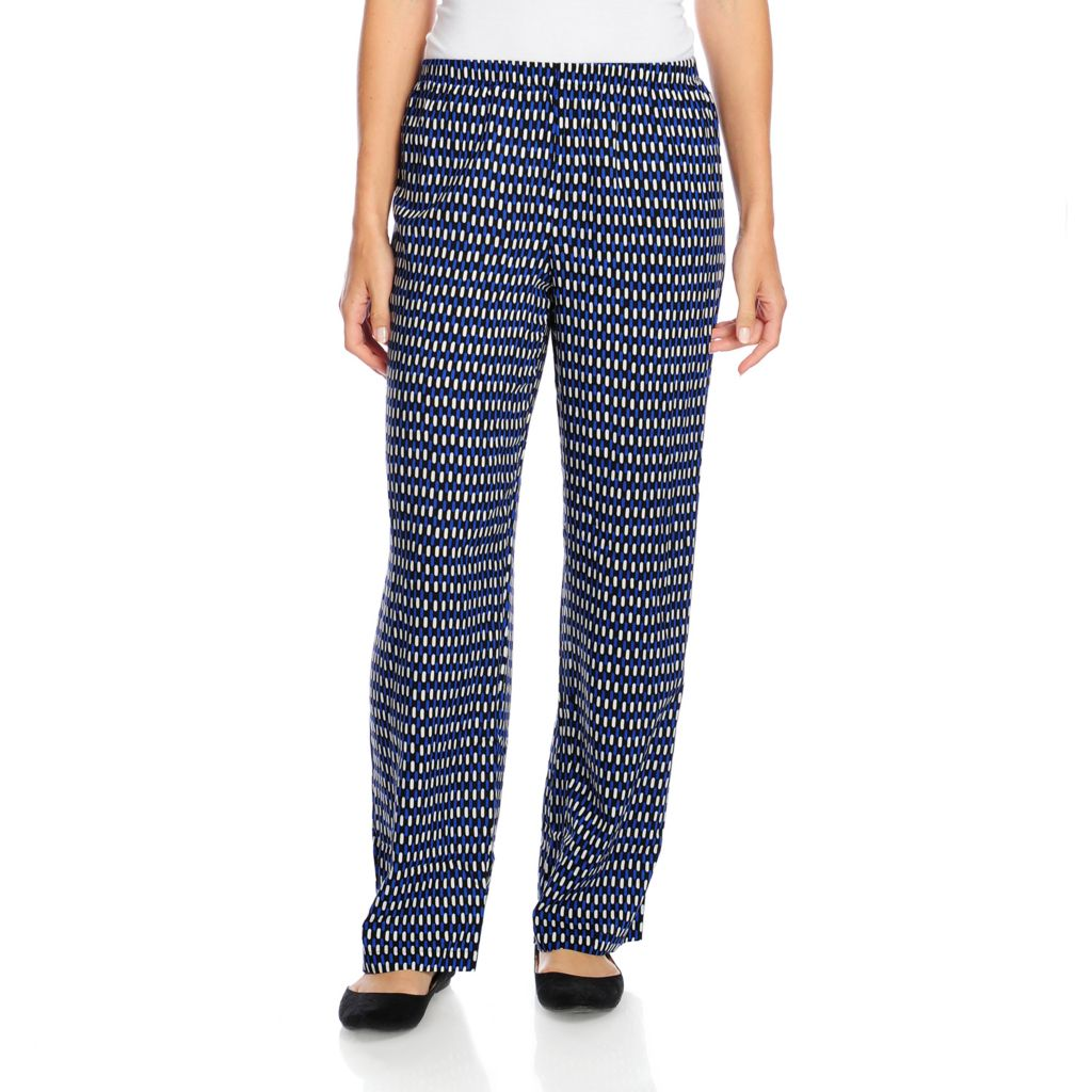 717-793 - OSO Casuals Printed Challis Elastic Waist Wide Leg Pull-on Pants