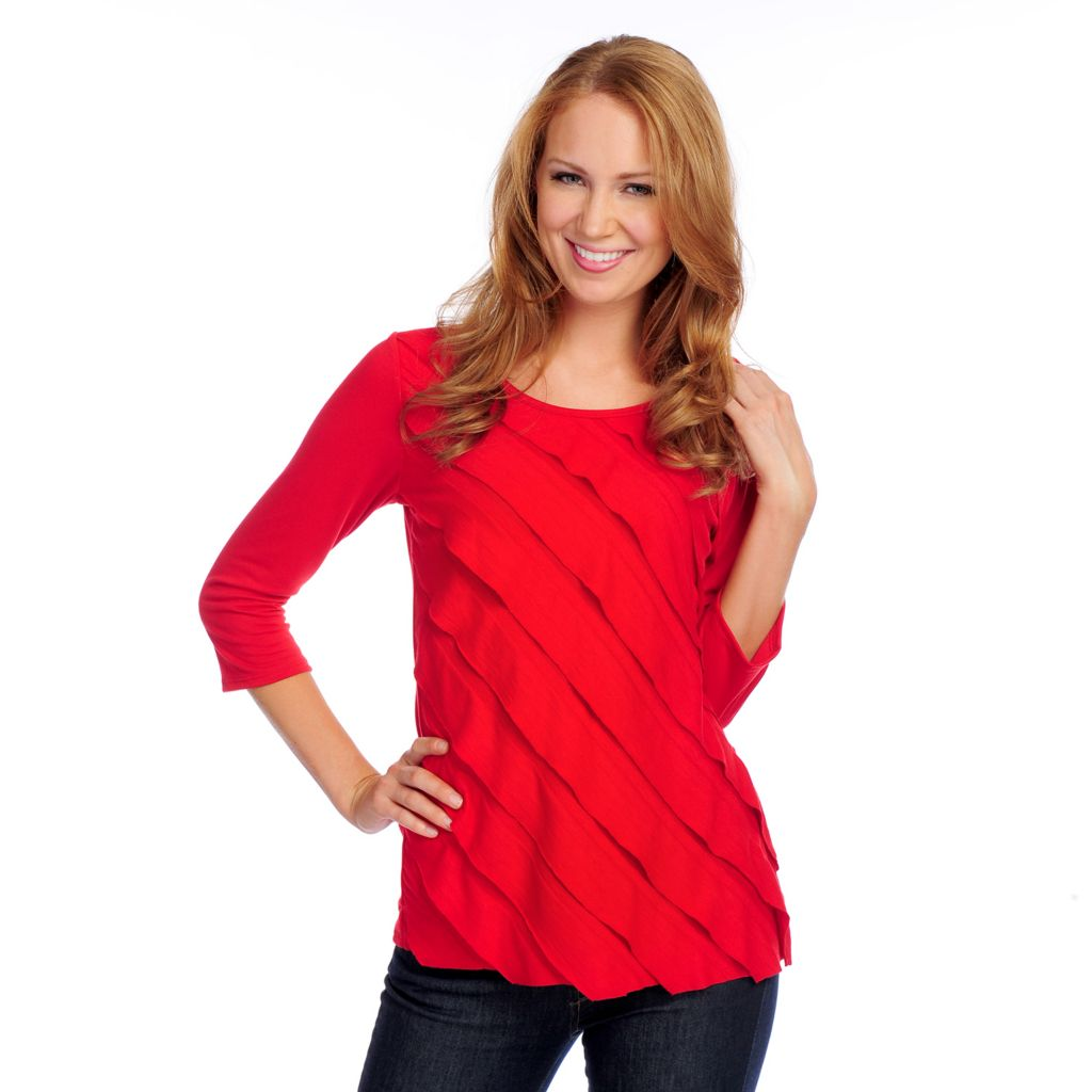 717-794 - OSO Casuals Stretch Knit 3/4 Sleeve Spliced Eyelash Textured Top