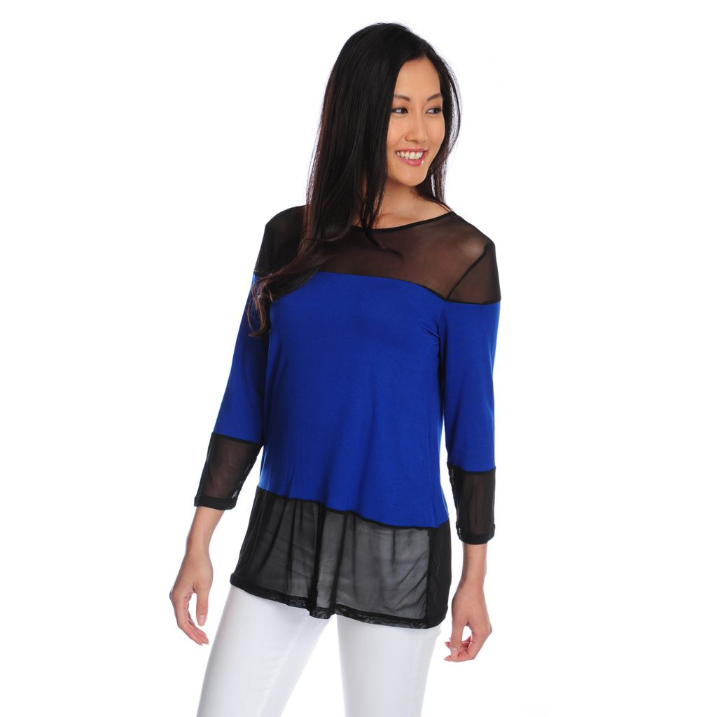 717-803 - Kate & Mallory Mixed Media 3/4 Sleeved Color Block Top