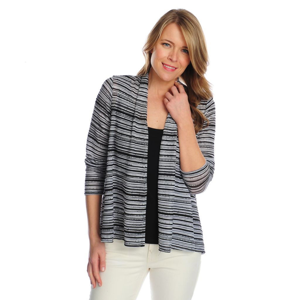 717-806 - Kate & Mallory Flame Stitch Bracelet Sleeved Open Cardigan w/ Layering Tank