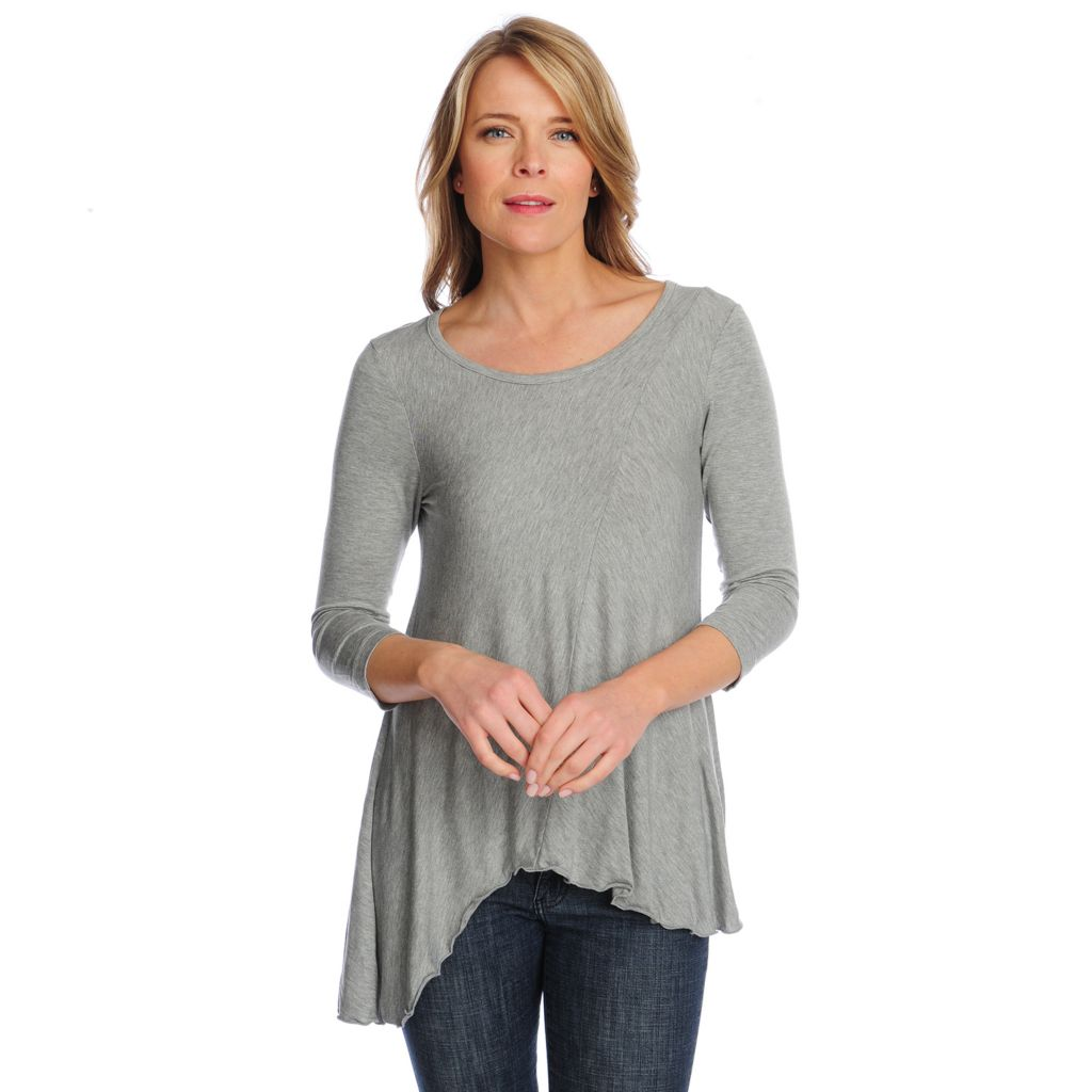 717-808 - Kate & Mallory Stretch Knit 3/4 Sleeved Asymmetrical Hem Front Seamed Tunic