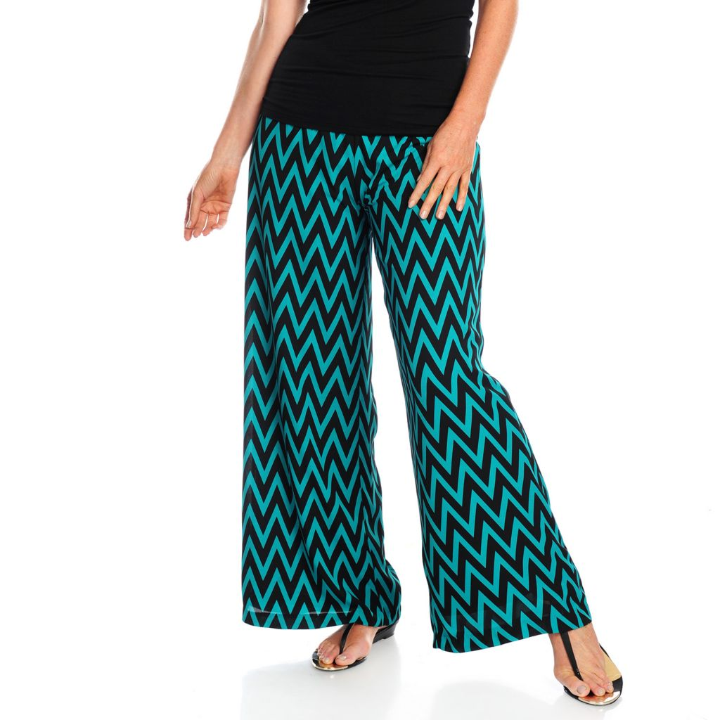 717-809 - Kate & Mallory Printed Woven Elastic Waist Fully Lined Palazzo Pants