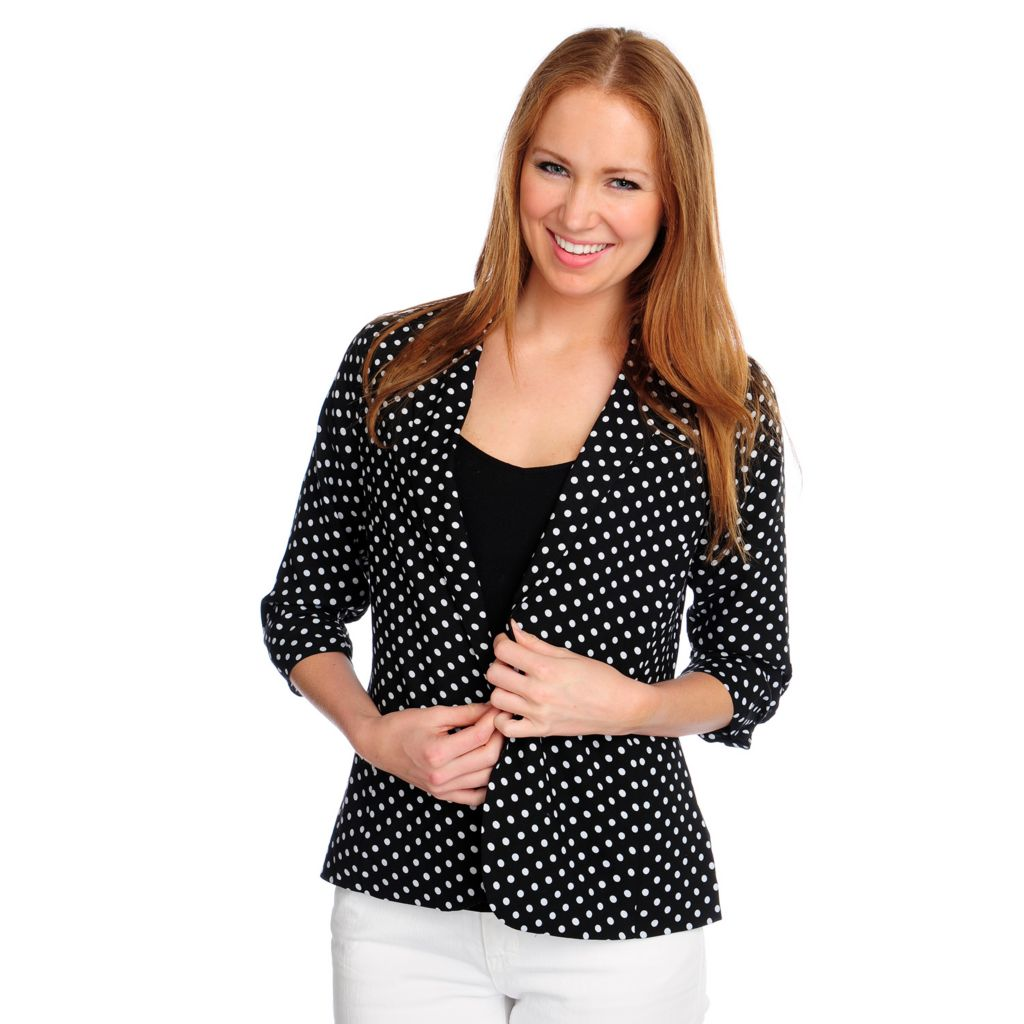 717-811 - Kate & Mallory Dotted Challis 3/4 Ruched Sleeve Fully Lined Cropped Blazer