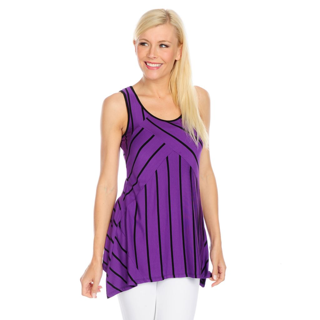 717-813 - Kate & Mallory Striped Knit Scoop Neck Sharkbite Hem Pieced Tank