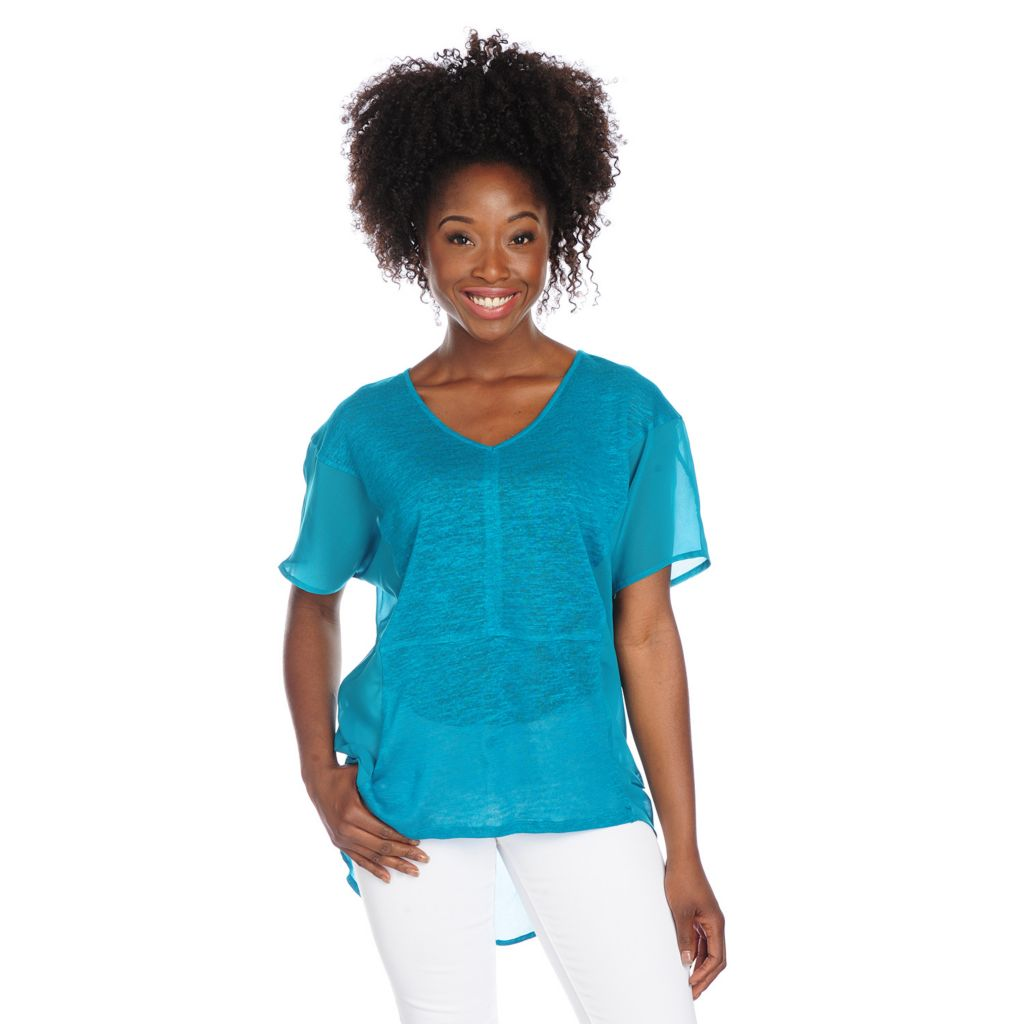 717-815 - Kate & Mallory Mixed Media Dolman Sleeved V-Neck Hi-Lo Top