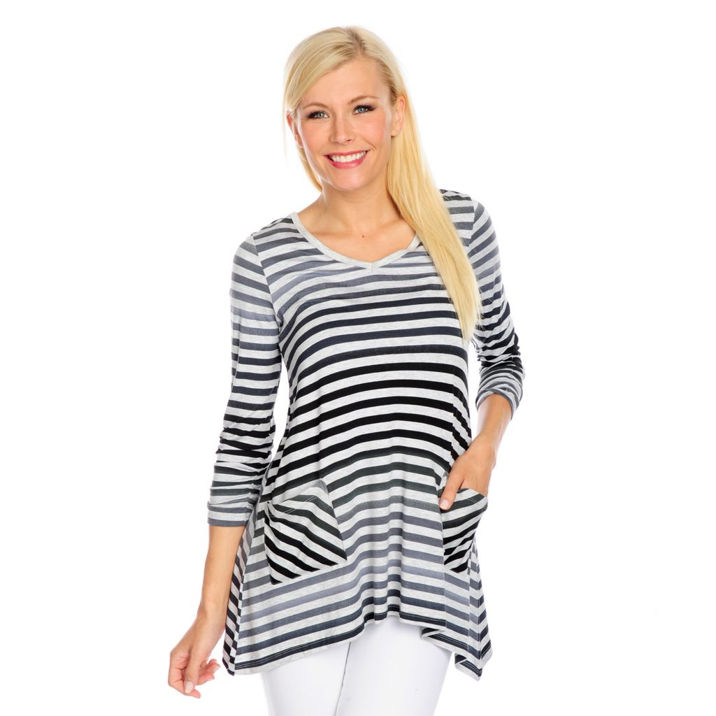 717-817 - Kate & Mallory Striped Knit 3/4 Ruched Sleeve Sharkbite Hem Two-Pocket Top