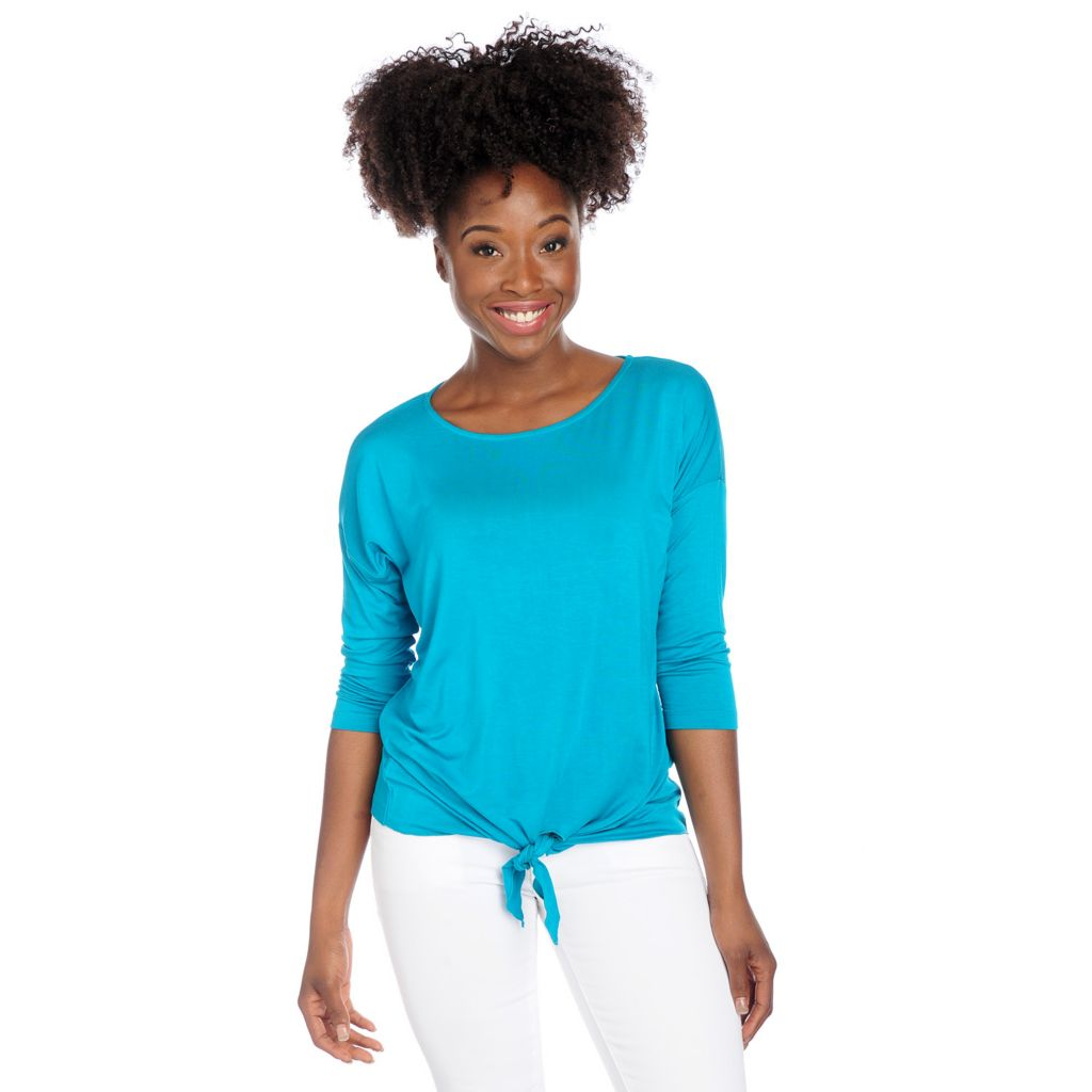 717-824 - Kate & Mallory Stretch Knit 3/4 Sleeved Drop Shoulder Tie-Front Top
