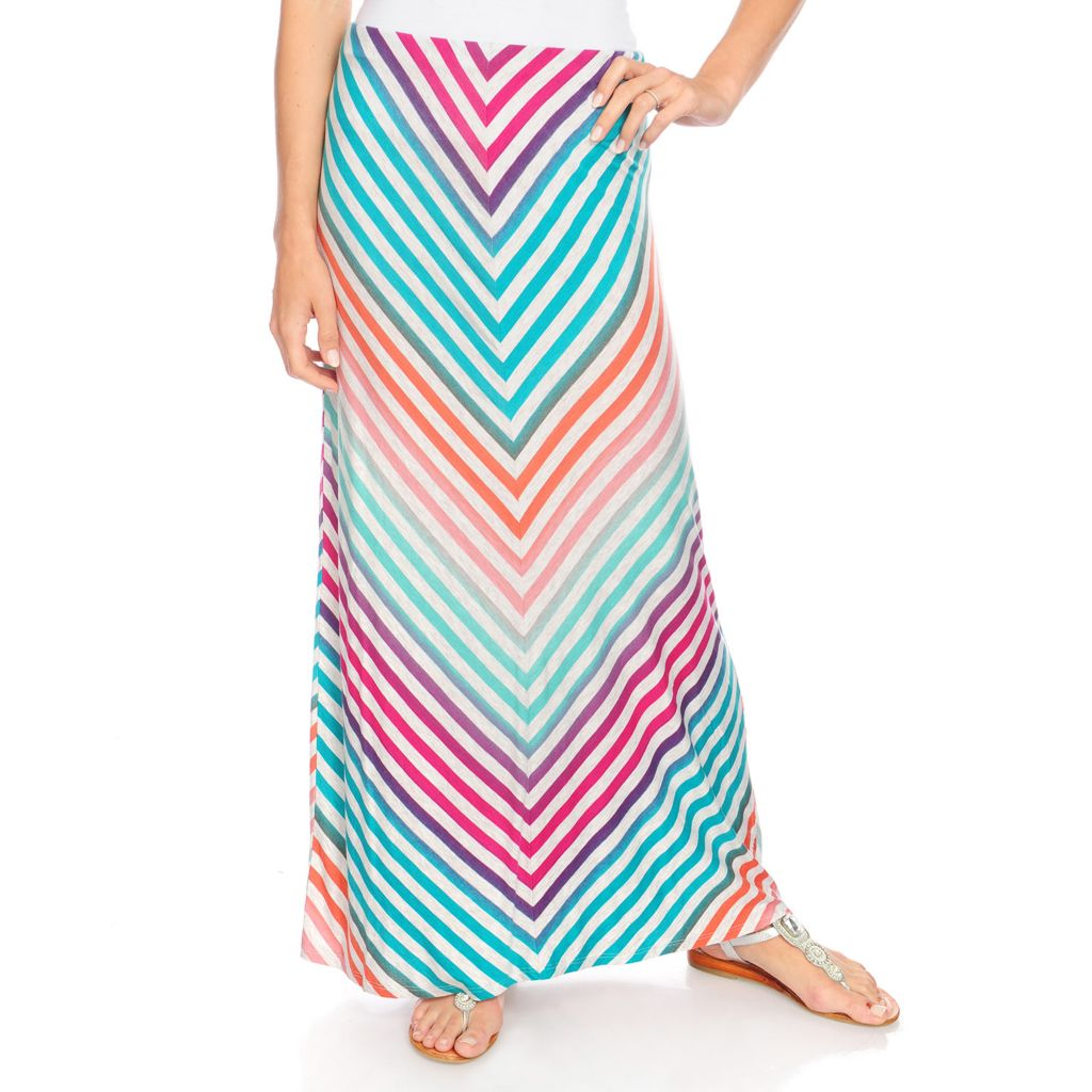 717-825 - Kate & Mallory Stretch Knit Elastic Waist Mitered Stripe Maxi Skirt
