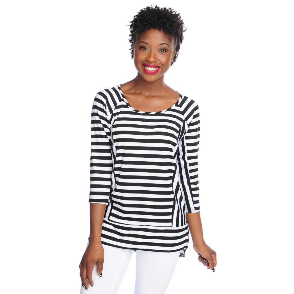 717-829 - aDRESSing WOMAN Stretch Knit Raglan Sleeved Mixed Stripe Hi-Lo Top