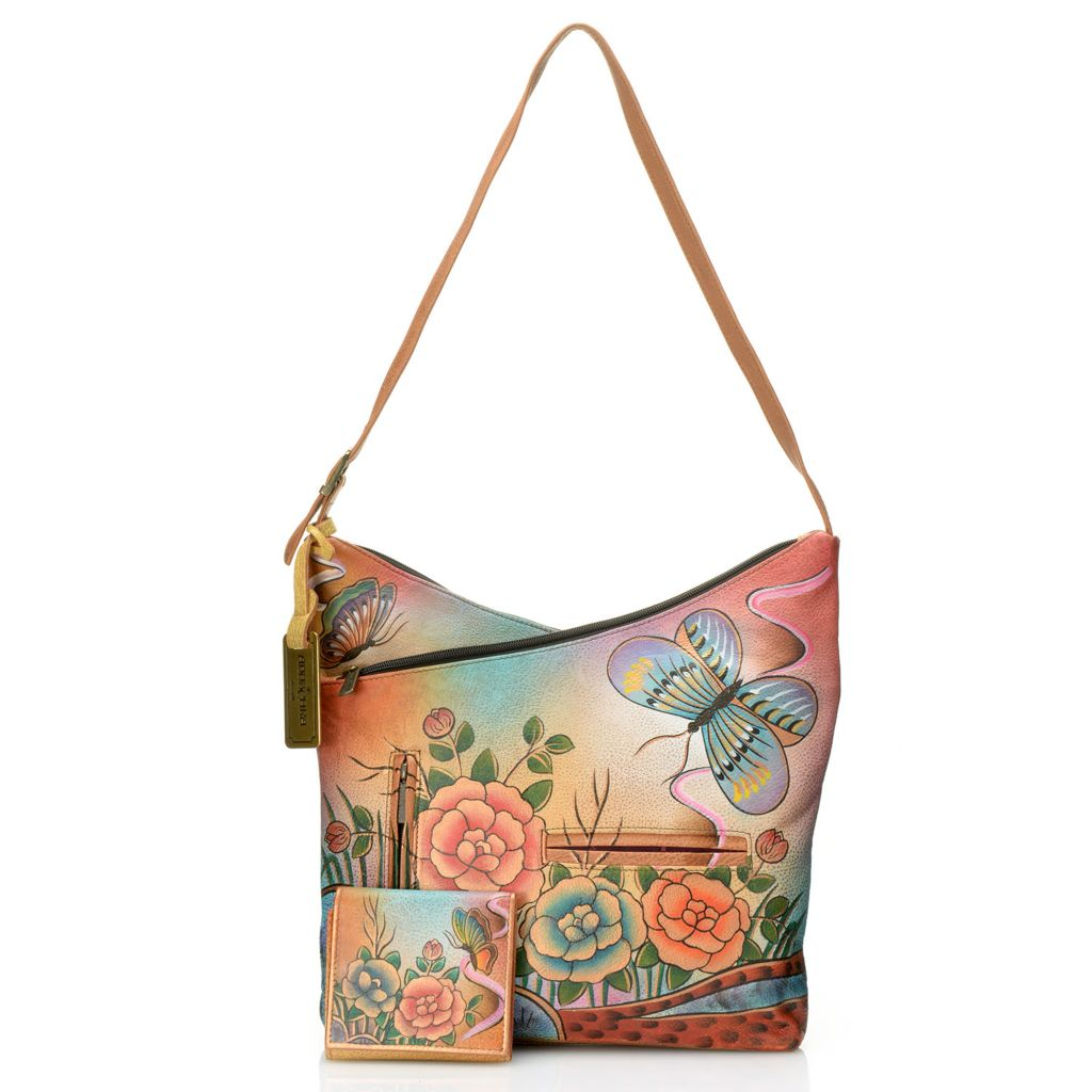 717-831 - Anuschka Hand-Painted Leather Crisscross V-Top Hobo Handbag w/ Tri-Fold Wallet