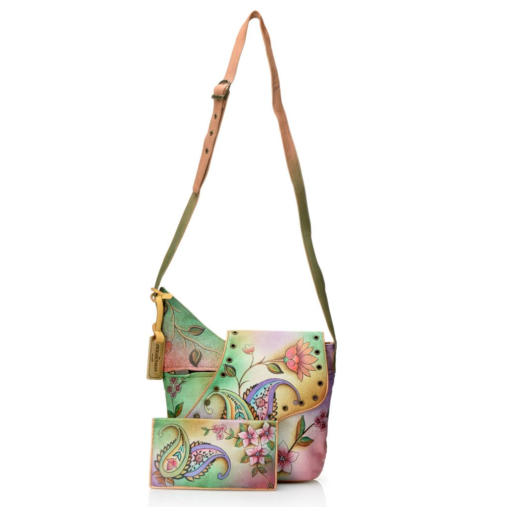 717-832 - Anuschka Hand-Painted Leather Zip Top Asymmetrical Flap Cross Body Bag