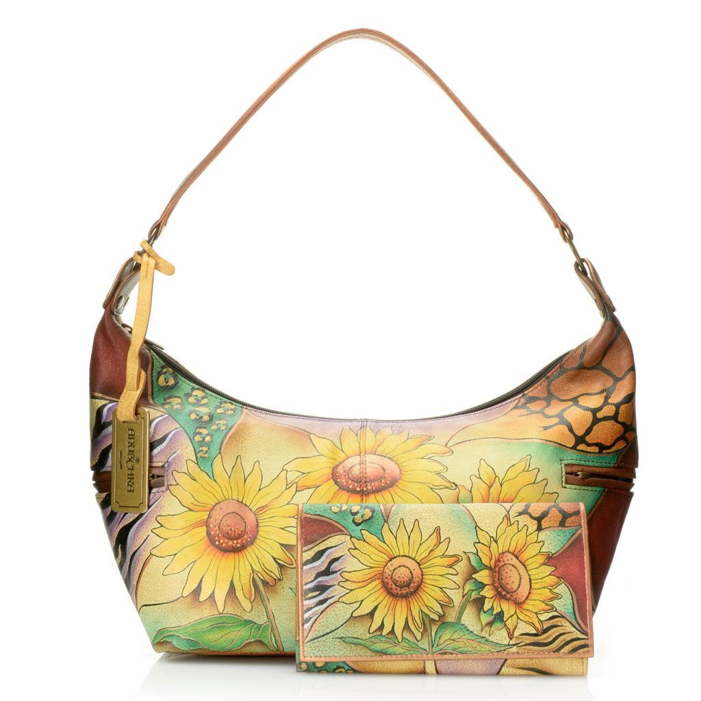 717-834 - Anuschka Hand-Painted Leather East-West Hobo Handbag w/ Matching Wallet