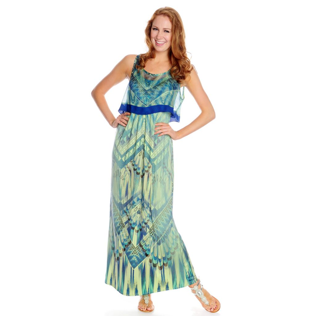 717-840 - One World Micro Jersey Sleeveless Chiffon Overlay Printed Maxi Dress