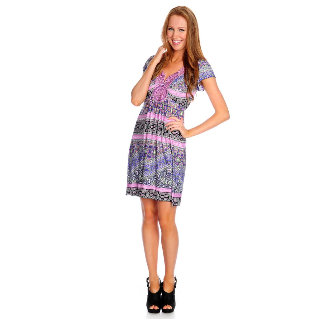 717-845 - One World Stretch Knit Flutter Sleeved Medallion Accent Flip Flop Dress