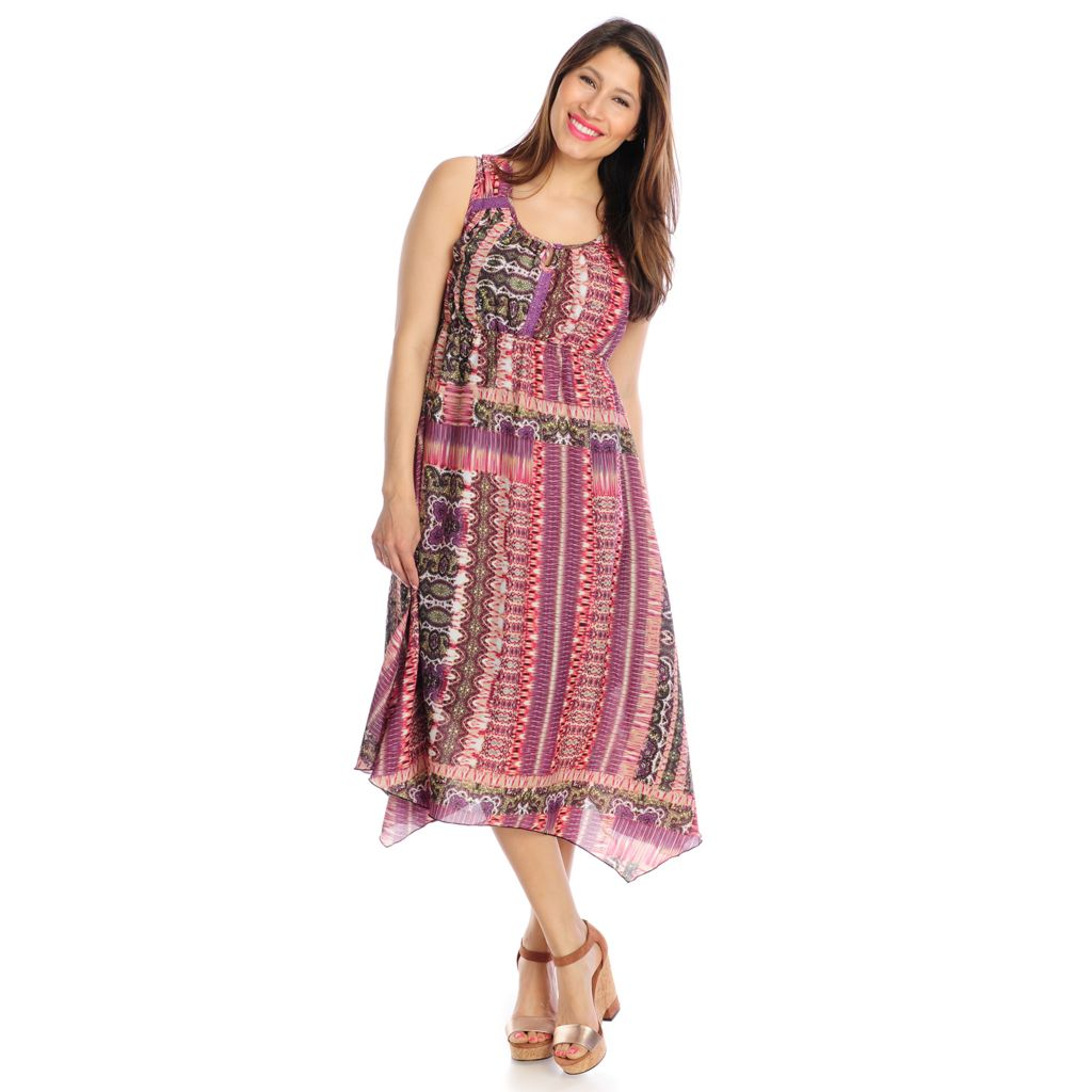 717-846 - One World Crepe Sleeveless Backlique Dress w/ Knit Slip