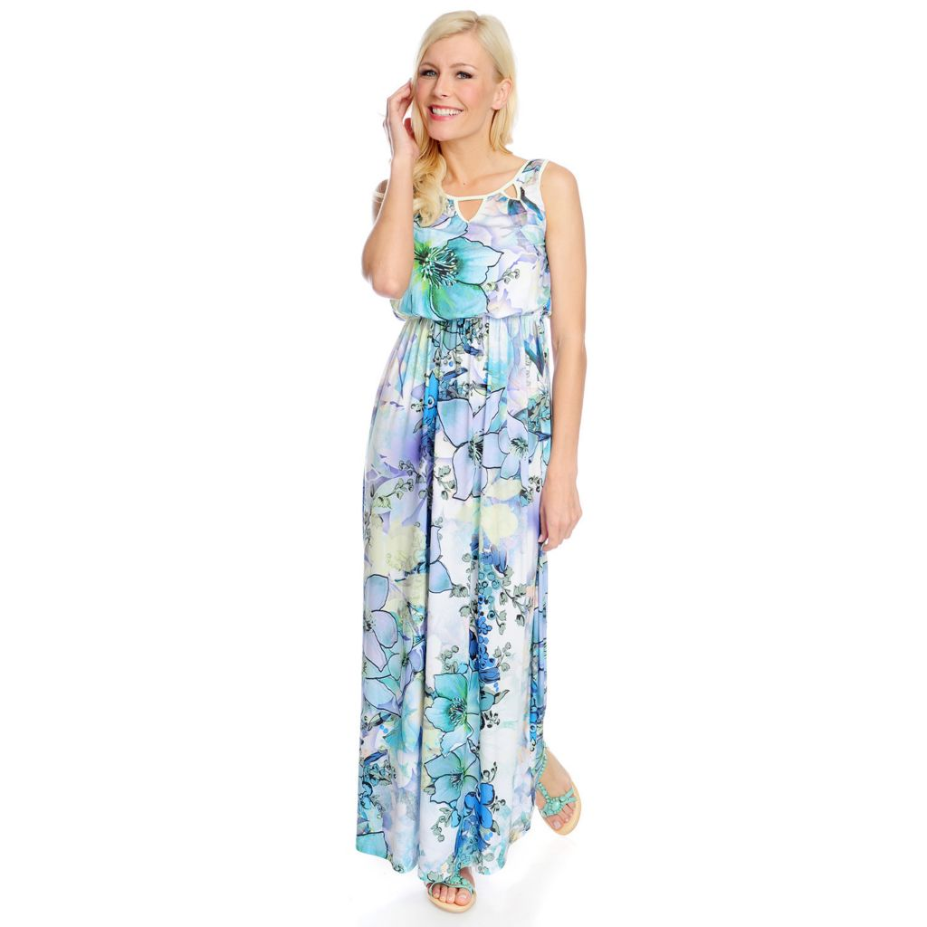 717-847 - One World Micro Jersey Sleeveless Cut-out Blouson Maxi Dress