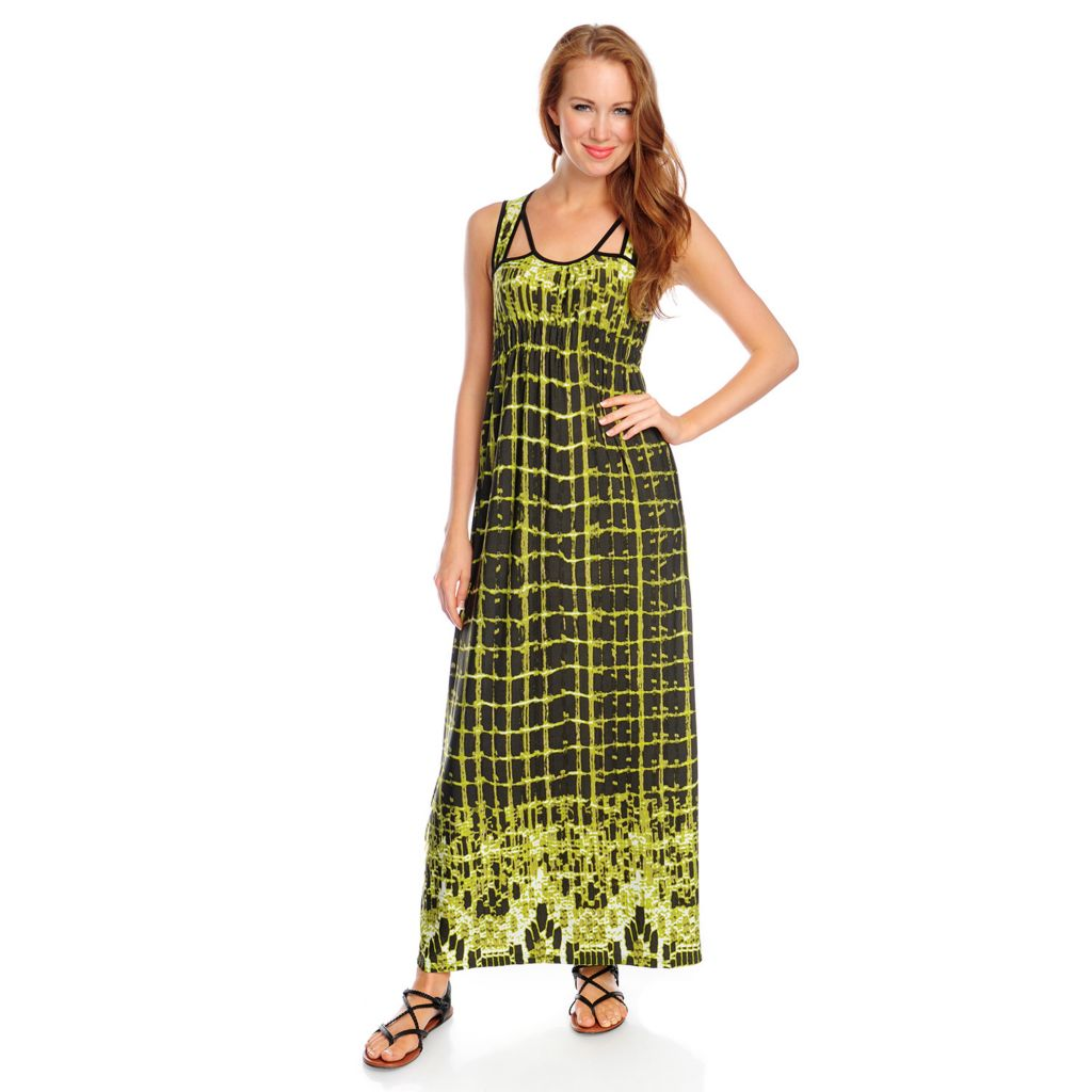 717-848 - One World Tie-Dyed Knit Sleeveless Cut-out Detail Maxi Dress
