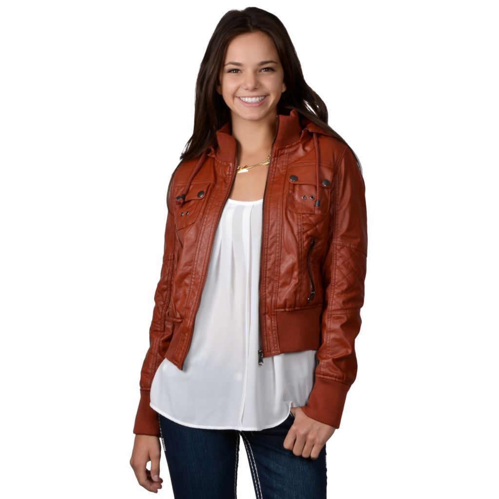 717-850 - Hailey Jeans Co. Junior's Faux Leather Fur Lined Hooded Jacket