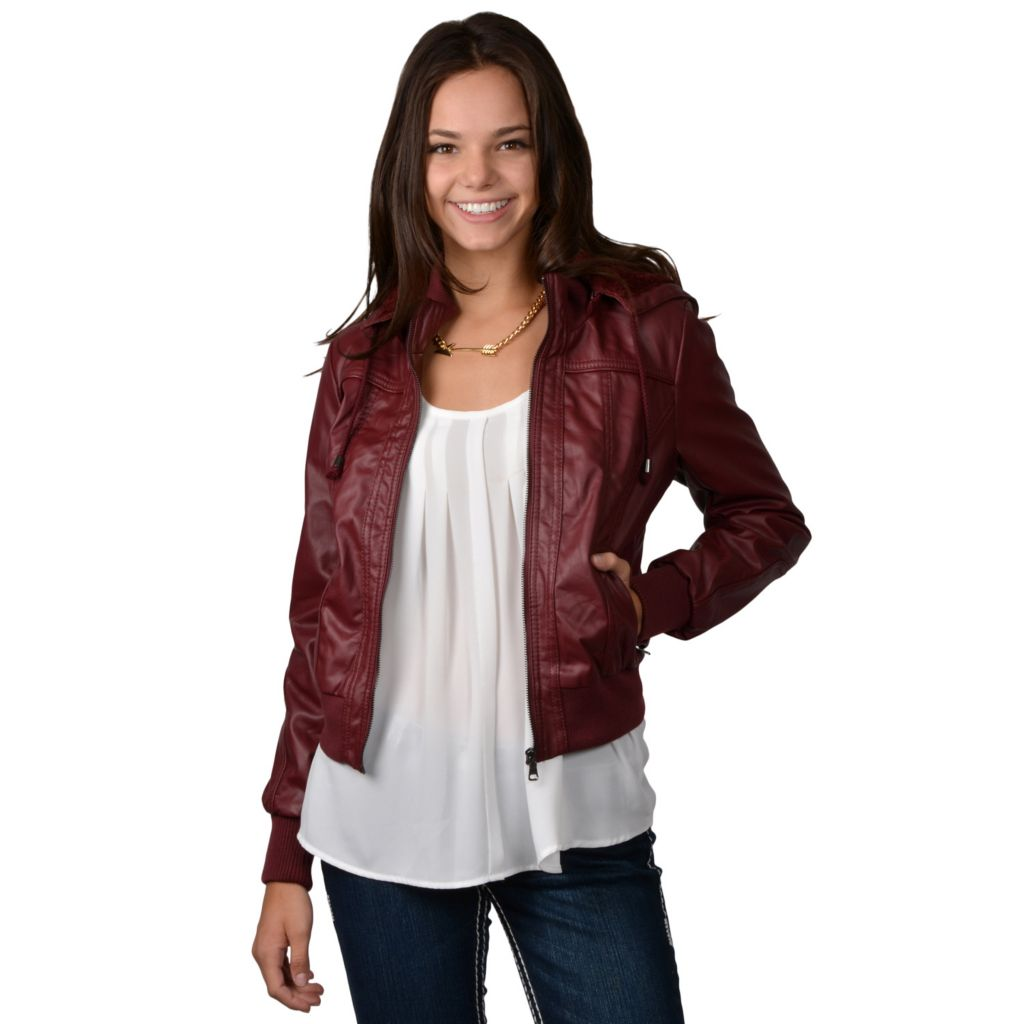 717-851 - Hailey Jeans Co. Junior's Faux Leather Hooded Jacket