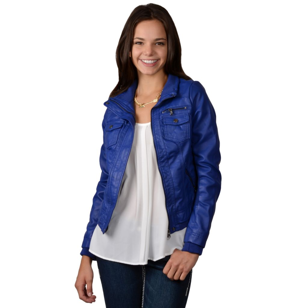 717-852 - Hailey Jeans Co. Junior's Faux Leather Fur Lined Jacket