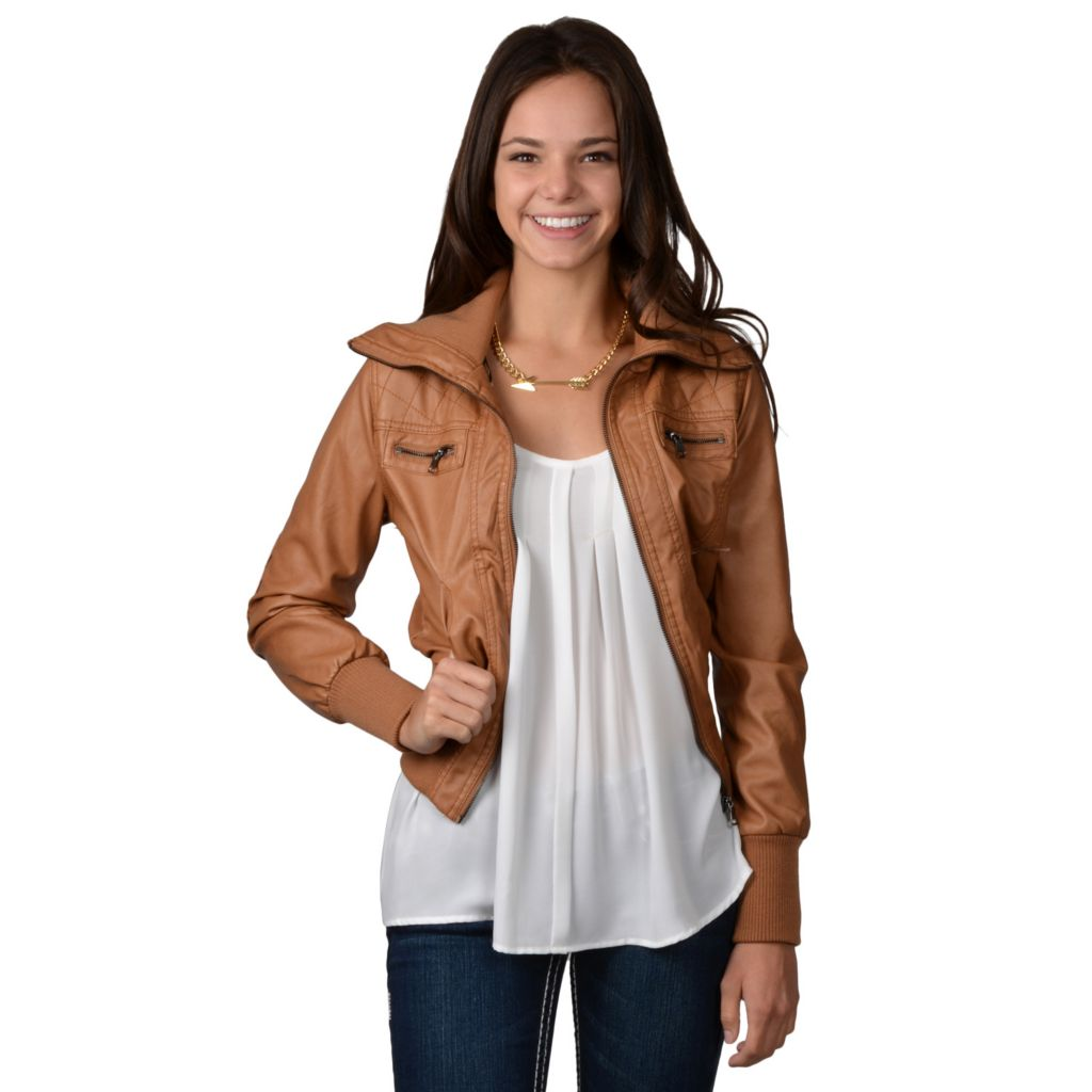 717-853 - Hailey Jeans Co. Junior's Faux Leather Ribbed Collar Jacket