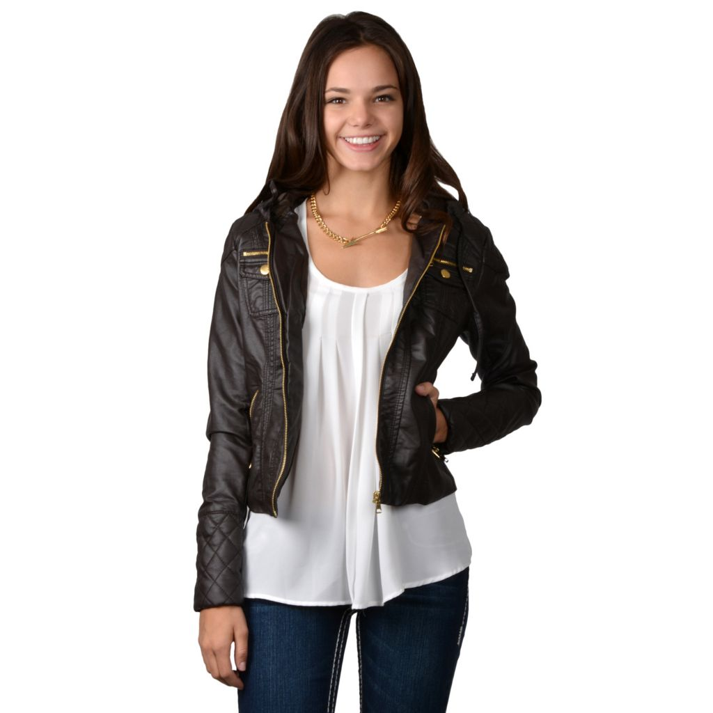 717-854 - Hailey Jeans Co. Junior's Faux Leather Hooded Zipper Jacket