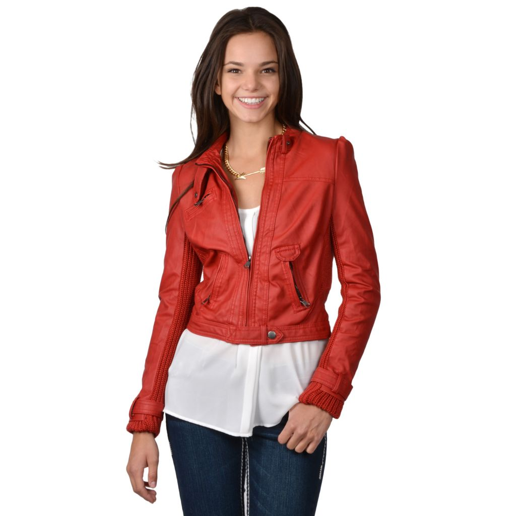 717-855 - Hailey Jeans Co. Junior's Faux Leather Snap Collar Jacket