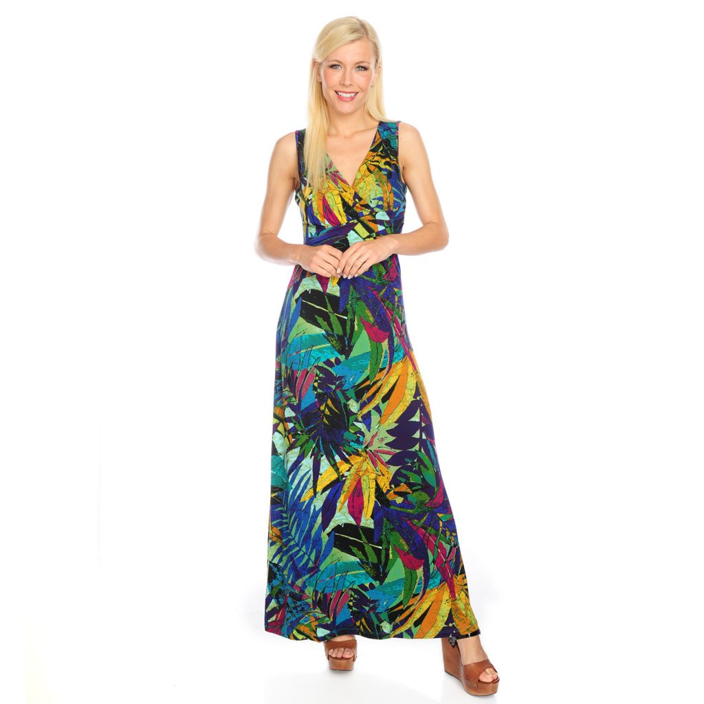 717-867 - Kate & Mallory Printed Knit Sleeveless Banded Waist Faux Wrap Maxi Dress